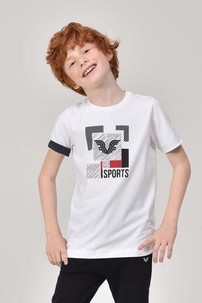 BİLCEE - Bilcee Beyaz Erkek Çocuk T-Shirt GS-8194