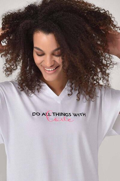 BİLCEE - Bilcee Beyaz Kadın T-Shirt GS-8607 (1)