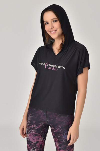 BİLCEE - Bilcee Siyah Kadın T-Shirt GS-8607