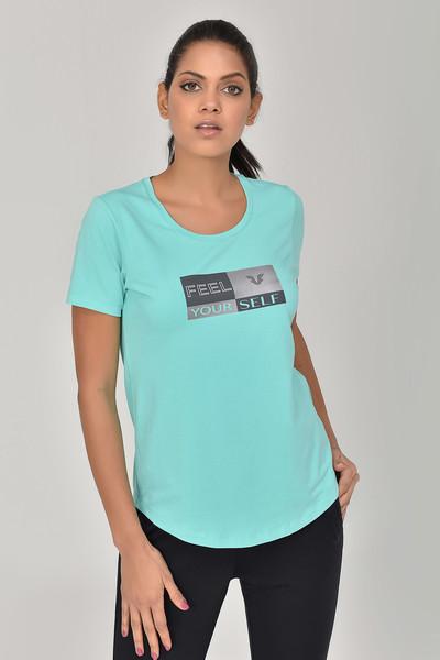 BİLCEE - Bilcee Turkuaz Kadın T-shirt GS-8614