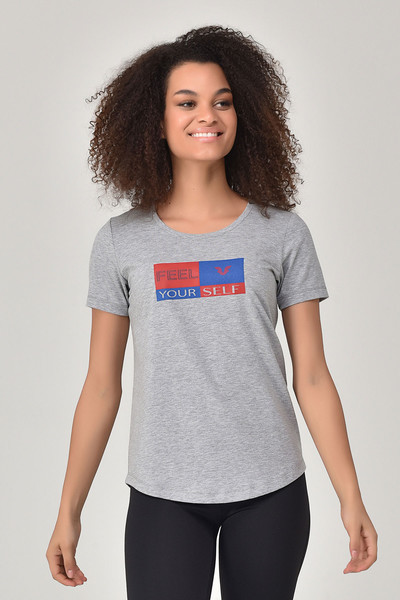 BİLCEE - Bilcee Gri Kadın T-shirt GS-8614