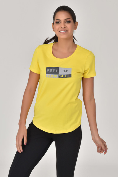 BİLCEE - Bilcee Sarı Kadın T-Shirt GS-8614