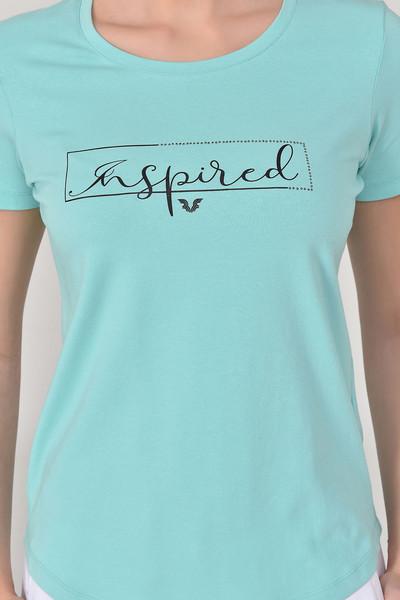 BİLCEE - Bilcee Turkuaz Kadın T-Shirt GS-8615 (1)