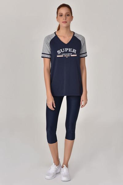 BİLCEE - Bilcee Lacivert Kadın T-Shirt GS-8616