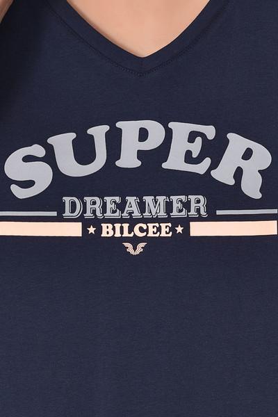 BİLCEE - Bilcee Lacivert Kadın T-Shirt GS-8616 (1)