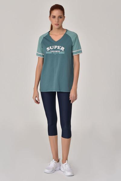 BİLCEE - Bilcee Turkuaz Kadın T-Shirt GS-8616