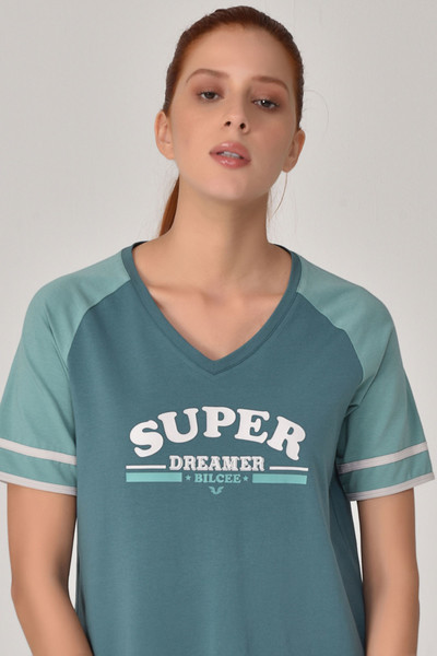 BİLCEE - Bilcee Turkuaz Kadın T-Shirt GS-8616 (1)