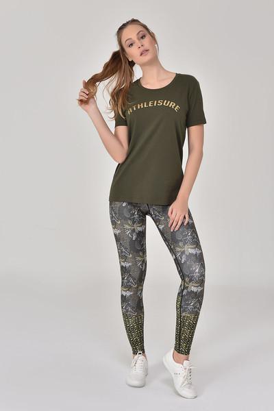 BİLCEE - Bilcee Haki Kadın T-Shirt GS-8618