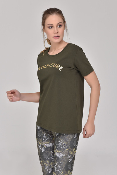 BİLCEE - Bilcee Haki Kadın T-Shirt GS-8618 (1)