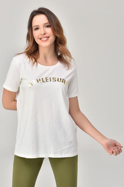 BİLCEE - Bilcee Beyaz Kadın T-Shirt GS-8618