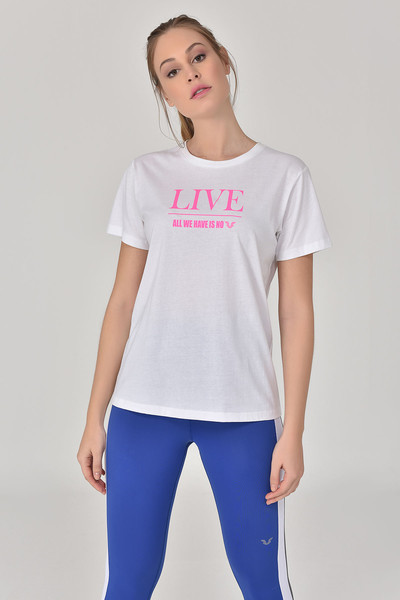 BİLCEE - Bilcee Beyaz Kadın T-Shirt GS-8620 (1)