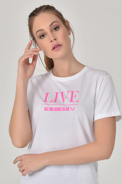 BİLCEE - Bilcee Beyaz Kadın T-Shirt GS-8620