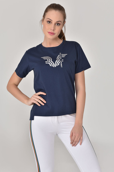 BİLCEE - Bilcee Lacivert Kadın T-Shirt GS-8623
