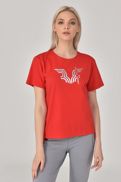 BİLCEE - Bilcee Kırmızı Kadın T-Shirt GS-8623 (1)