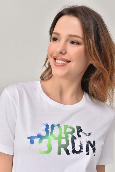 BİLCEE - Bilcee Beyaz Kadın T-Shirt GS-8625 (1)