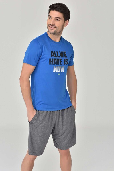 BİLCEE - Bilcee Mavi Erkek Antrenman T-Shirt GS-8803 (1)