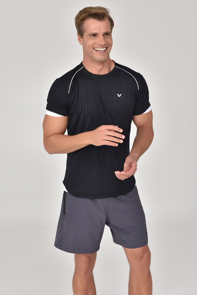 BİLCEE - Bilcee Siyah Erkek T-shirt GS-8821 (1)