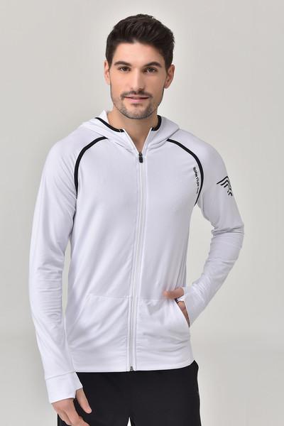 BİLCEE - Bilcee Beyaz Erkek Kapüşonlu Eşofman Üstü GS-8896