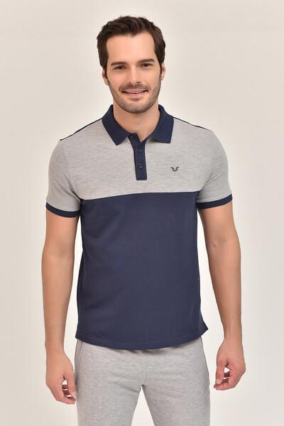 BİLCEE - Bilcee Lacivert Erkek Büyük Beden T-Shirt GS-8981