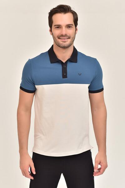 BİLCEE - Bilcee Mavi Erkek Büyük Beden T-Shirt GS-8981