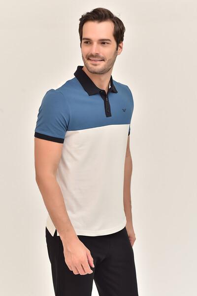 BİLCEE - Bilcee Mavi Erkek Büyük Beden T-Shirt GS-8981 (1)
