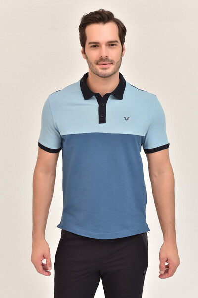BİLCEE - Bilcee Mavi Erkek T-Shirt Büyük Beden GS-8981