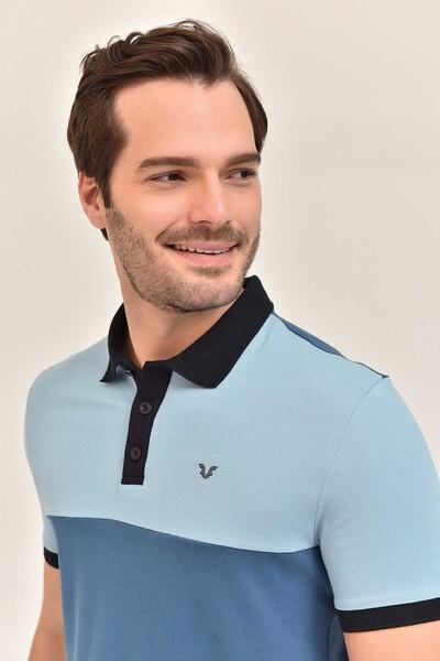 BİLCEE - Bilcee Mavi Erkek T-Shirt Büyük Beden GS-8981 (1)