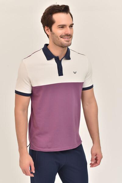 BİLCEE - Bilcee Mor Erkek Büyük Beden T-Shirt GS-8981