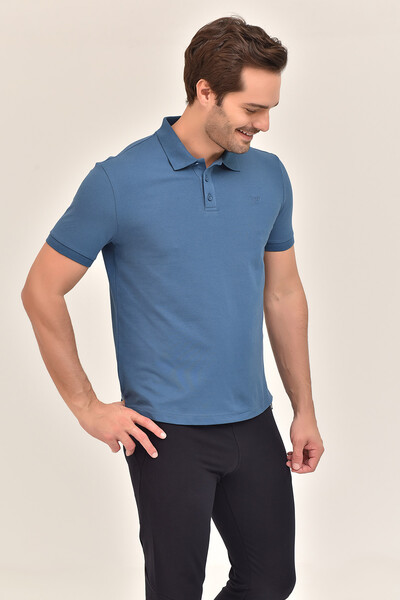- Bilcee Mavi Erkek Büyük Beden Polo Yaka T-Shirt GS-8983 (1)