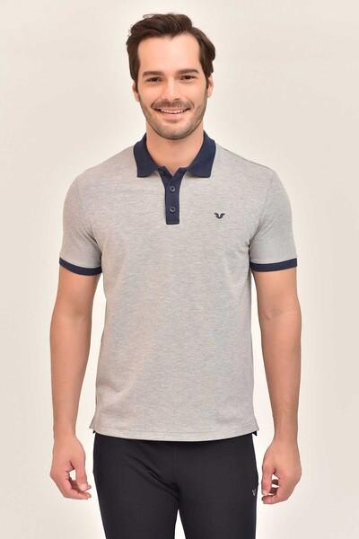 BİLCEE - Bilcee Gri Erkek Büyük Beden Polo Yaka T-Shirt GS-8983