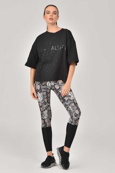 BİLCEE - Bilcee Siyah Kadın T-Shirt FW-1332 (1)