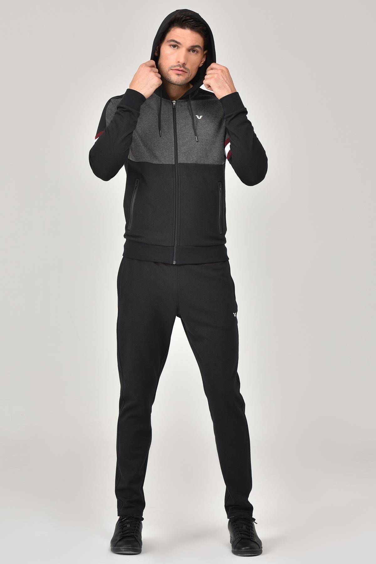 Bilcee Siyah Pamuk/Poly Erkek Eşofman Takımı FW-1245 BİLCEE