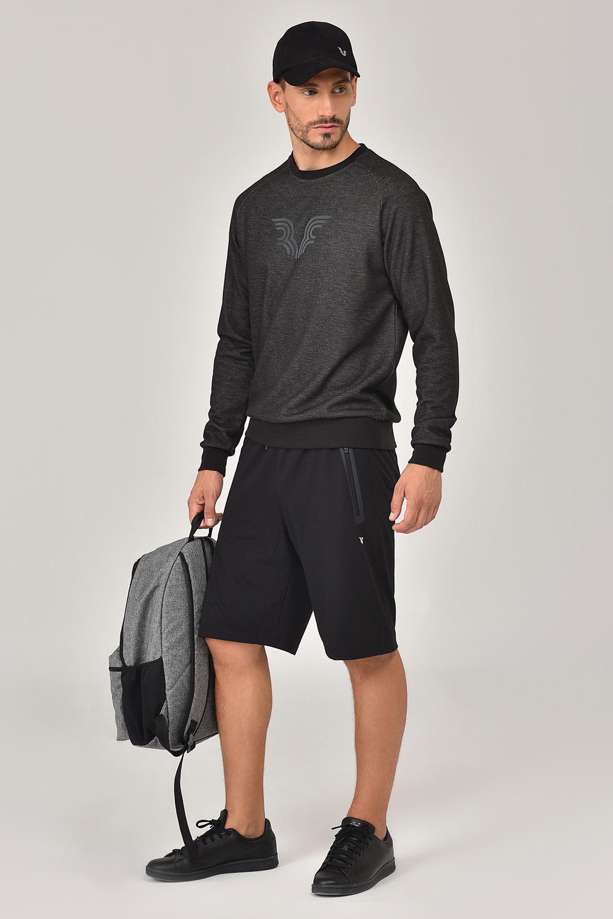 Bilcee Siyah Erkek Sweatshirt FW-1481 BİLCEE