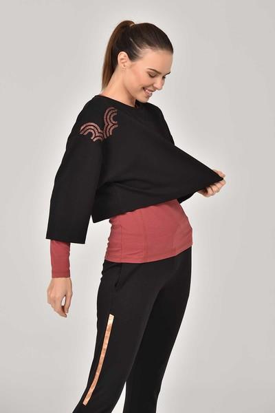 BİLCEE - Bilcee Siyah Kadın Sweatshirt FW-1334 (1)