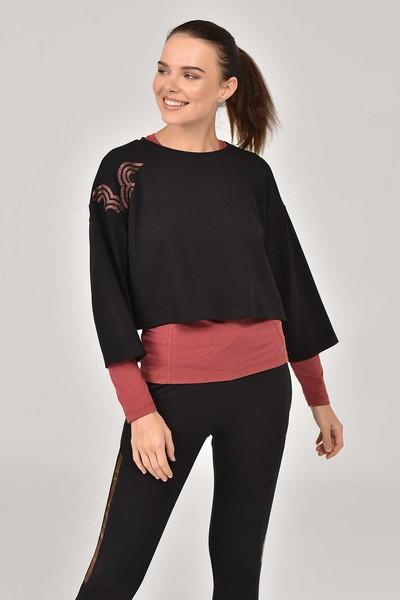 BİLCEE - Bilcee Siyah Kadın Sweatshirt FW-1334